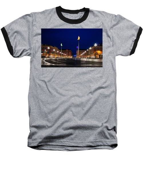 Baseball T-Shirt featuring the photograph Nice France - Place Massena Blue Hour  by Georgia Mizuleva