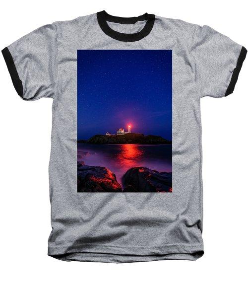 Night At Nubble Light Baseball T-Shirt