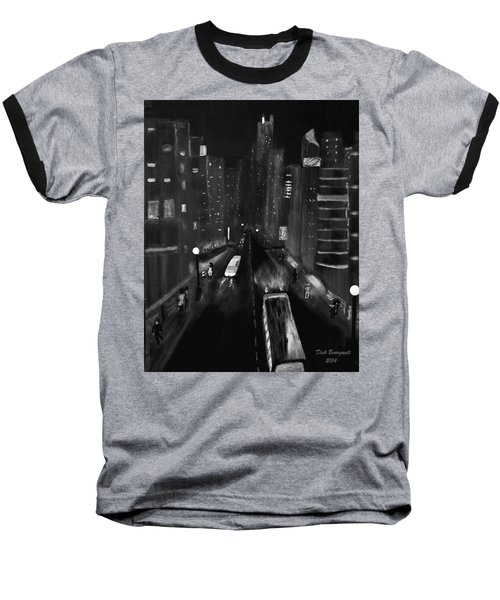 Night City Scape Baseball T-Shirt
