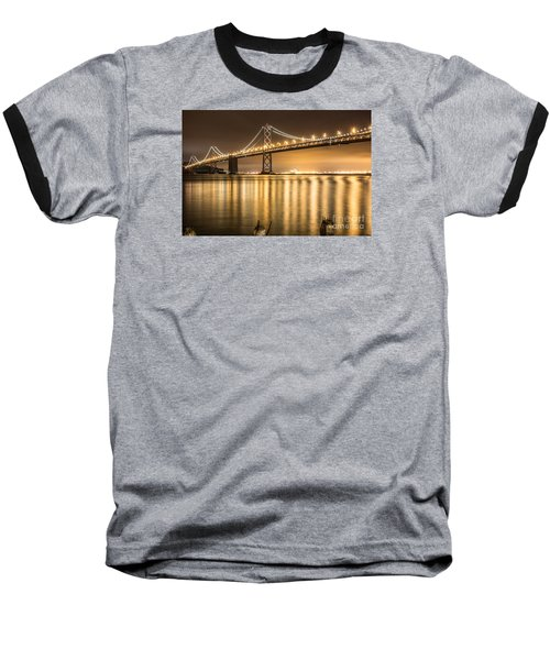 Night Descending On The Bay Bridge Baseball T-Shirt by Suzanne Luft