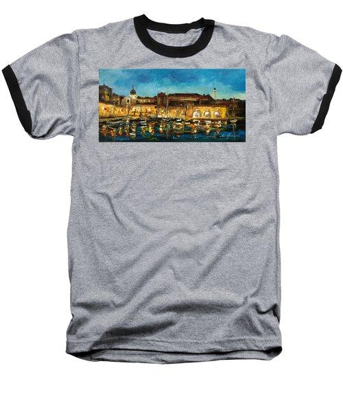 Night In Dubrovnik Harbour Baseball T-Shirt