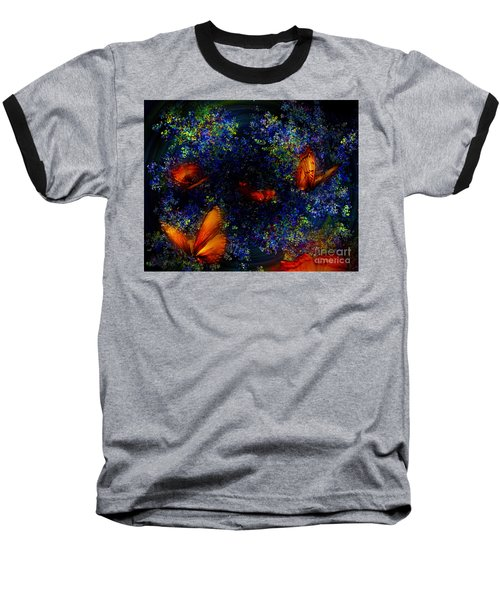 Baseball T-Shirt featuring the digital art Night Of The Butterflies by Olga Hamilton