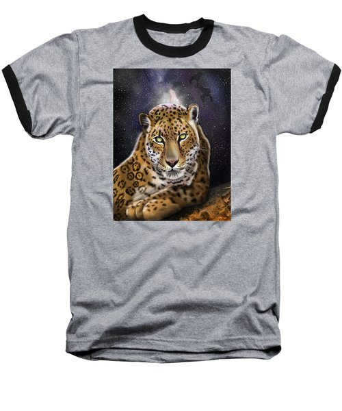Baseball T-Shirt featuring the painting Fourth Of The Big Cat Series - Leopard by Thomas J Herring