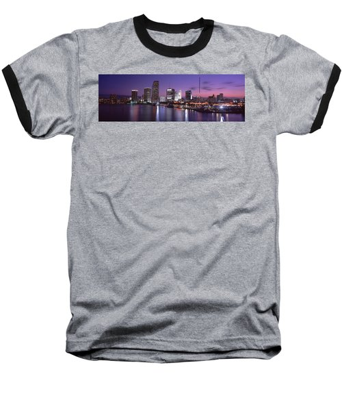 Night Skyline Miami Fl Usa Baseball T-Shirt by Panoramic Images