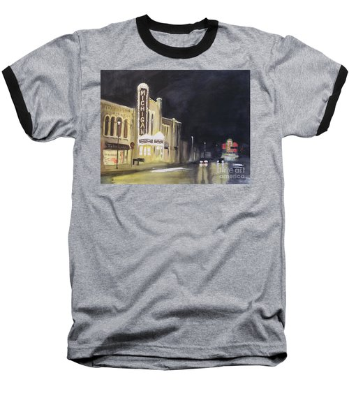 Night Time At Michigan Theater - Ann Arbor Mi Baseball T-Shirt by Yoshiko Mishina