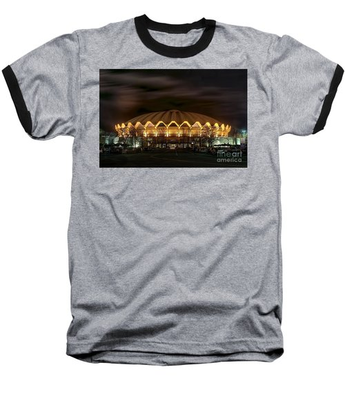 night WVU basketball Coliseum arena in Baseball T-Shirt by Dan Friend