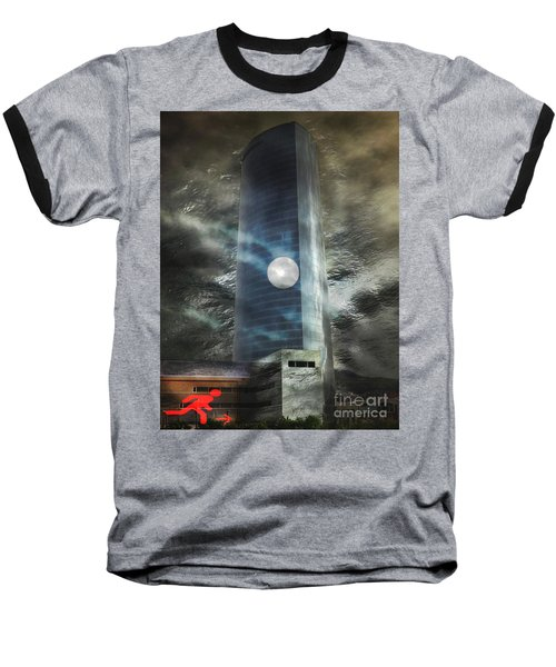 Baseball T-Shirt featuring the digital art Nightmare Tower by Rosa Cobos