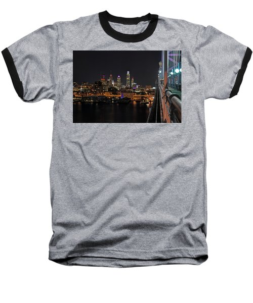 Nighttime Philly From The Ben Franklin Baseball T-Shirt by Jennifer Ancker