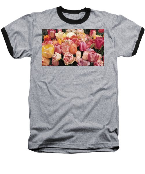 Baseball T-Shirt featuring the painting Nikki's Tulips by Tim Gilliland