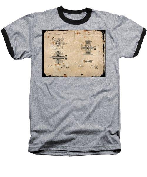 Nikola Tesla's Alternating Current Generator Patent 1891 Baseball T-Shirt