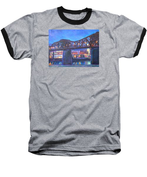 City At Night Downtown Evening Scene Original Contemporary Painting For Sale Baseball T-Shirt