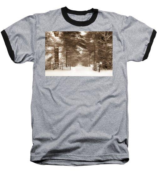 No Trespassing - Sepia Baseball T-Shirt