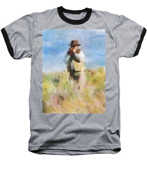 Baseball T-Shirt featuring the painting No Useless Cares by Greg Collins