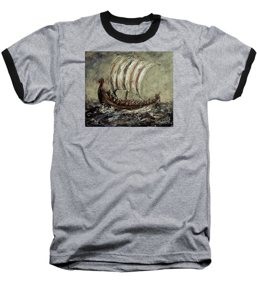 Norse Explorers Baseball T-Shirt by Arturas Slapsys