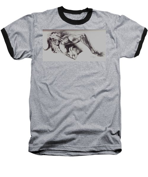 North American Minotaur Pencil Sketch Baseball T-Shirt by Derrick Higgins