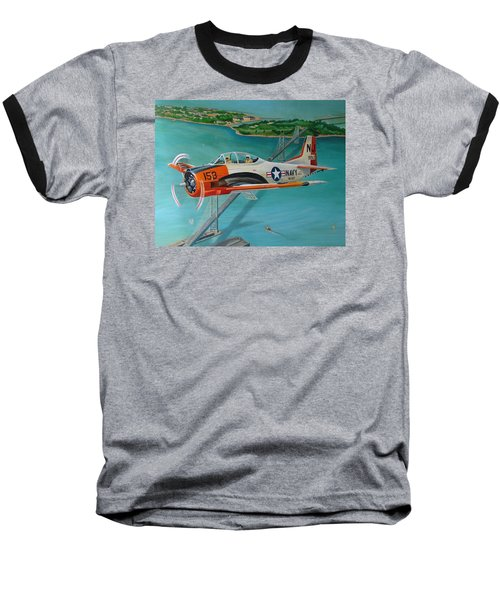 North American T-28 Trainer Baseball T-Shirt by Stuart Swartz
