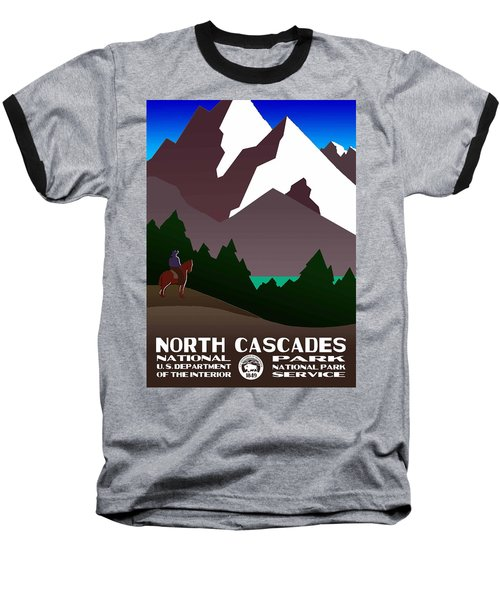 North Cascades National Park Vintage Poster Baseball T-Shirt