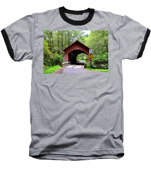 North Fork Yachats Covered Bridge Baseball T-Shirt