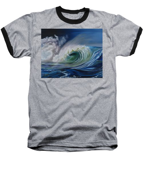 Baseball T-Shirt featuring the painting North Shore Curl by Donna Tuten