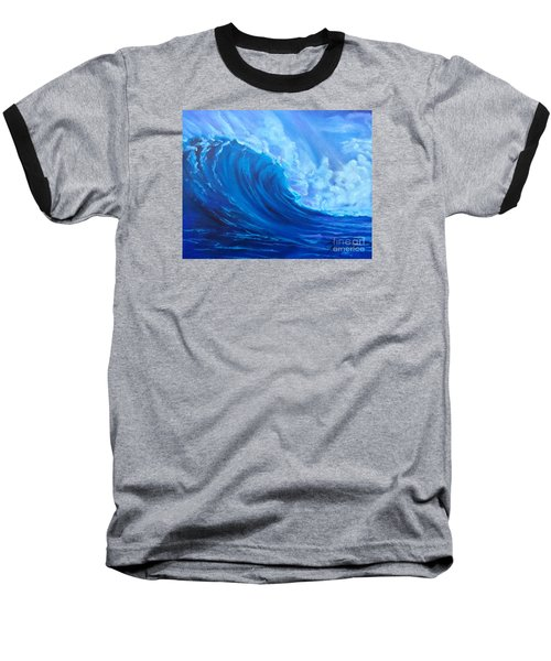 Baseball T-Shirt featuring the painting Wave V1 by Jenny Lee