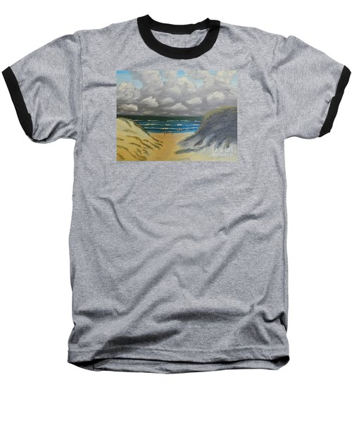 Baseball T-Shirt featuring the painting North Windang Beach by Pamela  Meredith