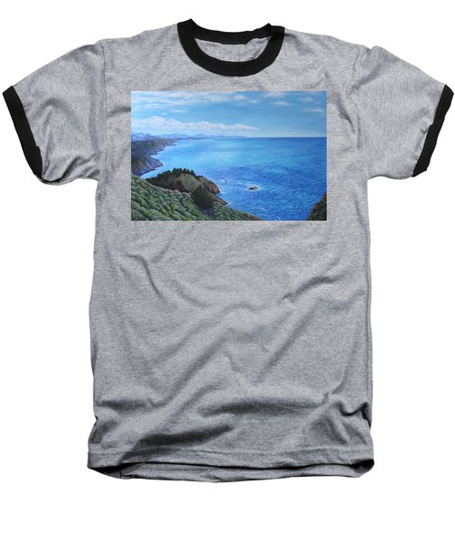 Baseball T-Shirt featuring the painting Northern California Coastline by Penny Birch-Williams