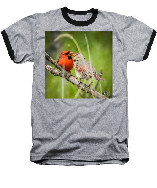 Northern Cardinal Male And Female Baseball T-Shirt