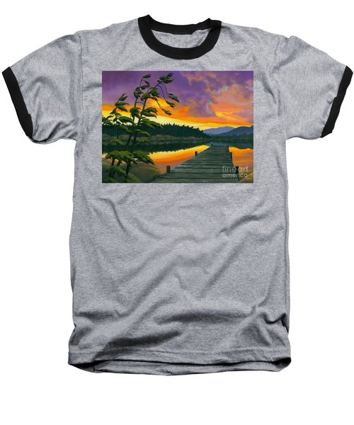 Baseball T-Shirt featuring the painting After Glow - Oil / Canvas by Michael Swanson