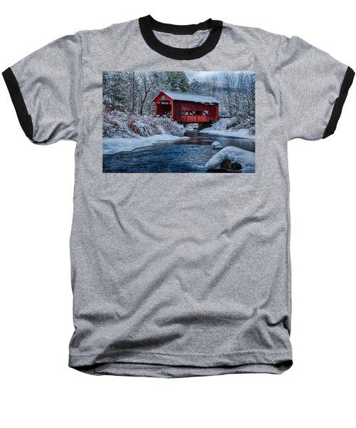 Northfield Vermont Covered Bridge Baseball T-Shirt by Jeff Folger