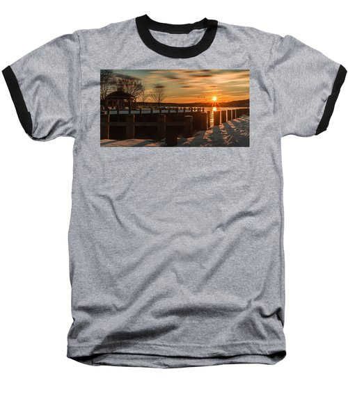 Northport New York Winter Sunset Baseball T-Shirt