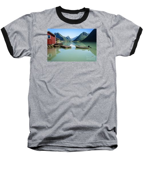 Reflection Of A Boat And A Boathouse In A Fjord In Norway Baseball T-Shirt by IPics Photography