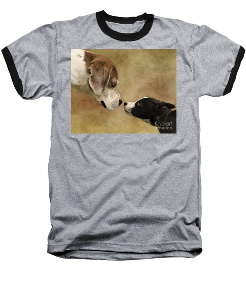 Nose To Nose Dogs Baseball T-Shirt