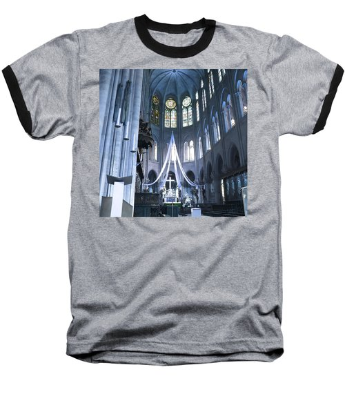 Notre Dame Altar Teal Paris France Baseball T-Shirt