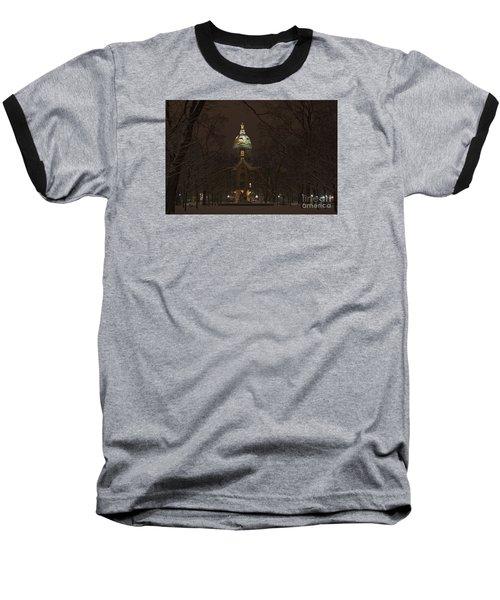 Notre Dame Golden Dome Snow Baseball T-Shirt