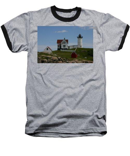 Nubble Light House York Maine Baseball T-Shirt by Denyse Duhaime