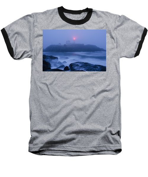 Nubble Light In Foggy Dawn Baseball T-Shirt