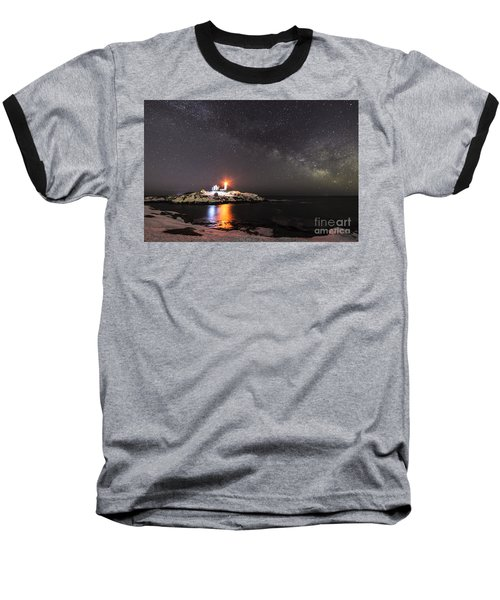 Nubble Light With Milky Way Baseball T-Shirt by Patrick Fennell