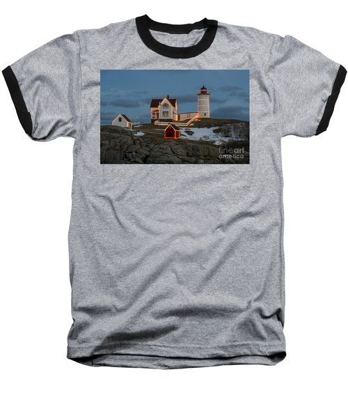 Nubble Lighthouse At Christmas Baseball T-Shirt by Steven Ralser