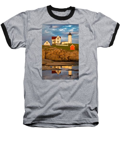 Baseball T-Shirt featuring the photograph Nubble Lighthouse No 1 by Jerry Fornarotto