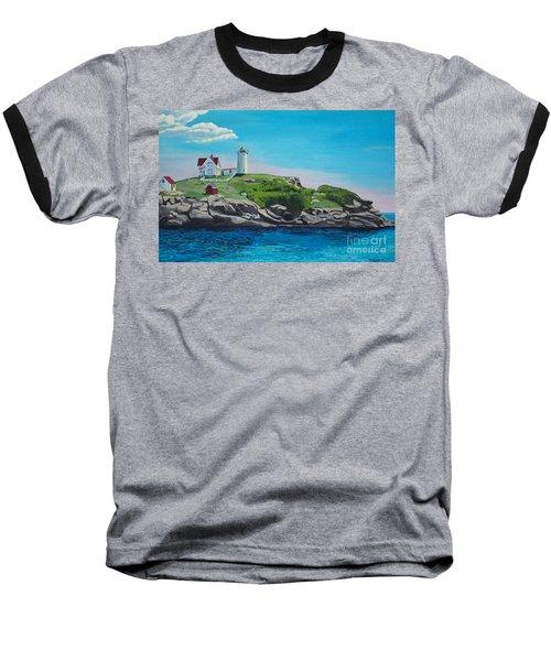 Nubble Lighthouse Sunrise Baseball T-Shirt
