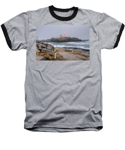 Nubble Lighthouse View Baseball T-Shirt