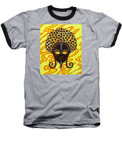 Baseball T-Shirt featuring the painting Nubian Modern Afro Mask by Joseph Sonday