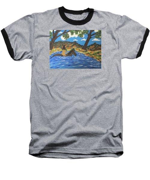 Baseball T-Shirt featuring the painting Nude And Bareback Swim by Jeffrey Koss
