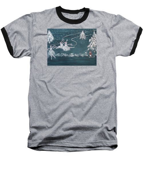 Baseball T-Shirt featuring the painting Nutcrackers Dance Of The Snowflakes by Sharyn Winters