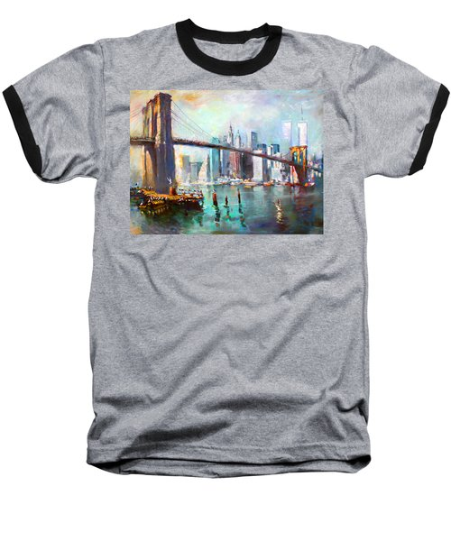 Ny City Brooklyn Bridge II Baseball T-Shirt by Ylli Haruni