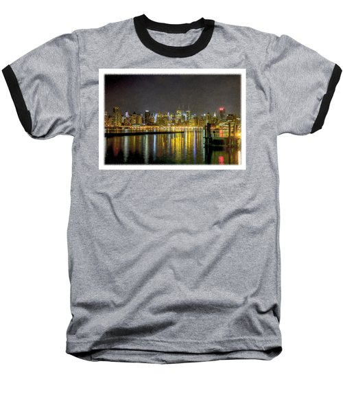 Nyc At Night Faux Oil Baseball T-Shirt