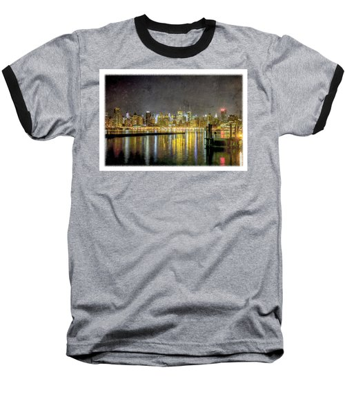 Nyc At Night Baseball T-Shirt