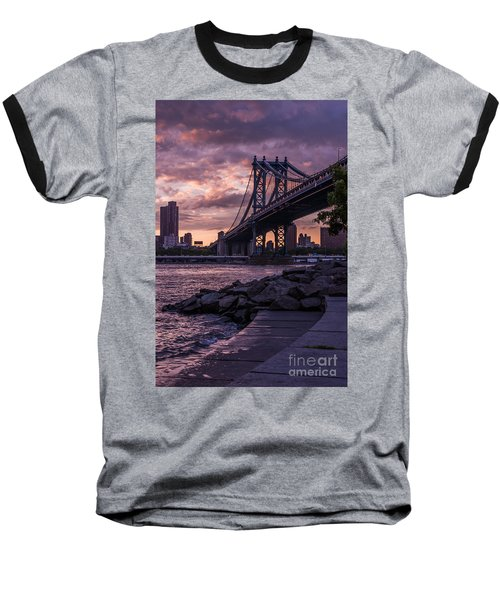 Nyc- Manhatten Bridge At Night Baseball T-Shirt