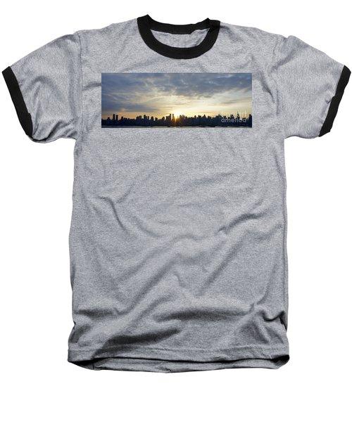 Nyc Sunrise Panorama Baseball T-Shirt