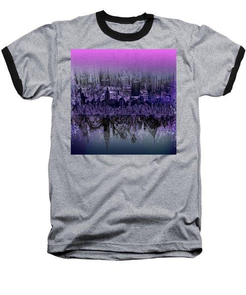 Nyc Tribute Skyline Baseball T-Shirt by Bekim Art
